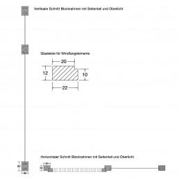 Zeichnung, Windfangelement und Glasleiste